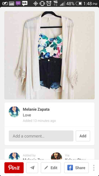 blouse white cardigan floral blouse dark denim shorts