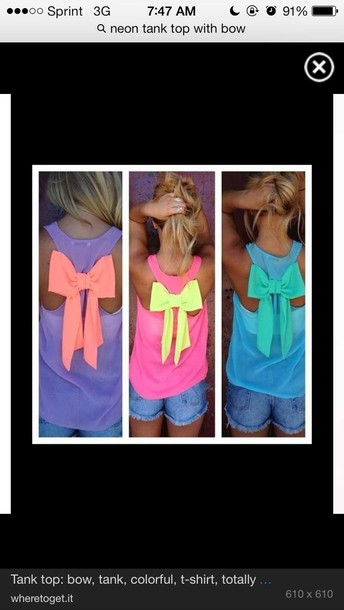 tank top neon bows sheer ladies