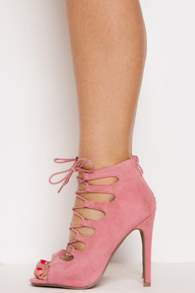 MY HEART STRINGS LACE UP HEEL PINK by Bad Boy UK