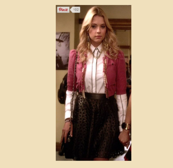 pretty little liars jacket hanna marin cropped jacket laser cut skirt rag and bone faux leather