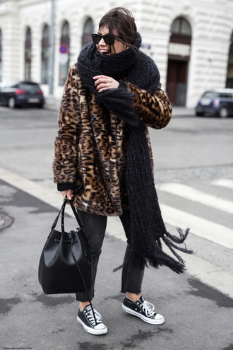 viennawedekind blogger coat jeans sweater scarf bag shoes winter outfits animal print sneakers bucket bag converse