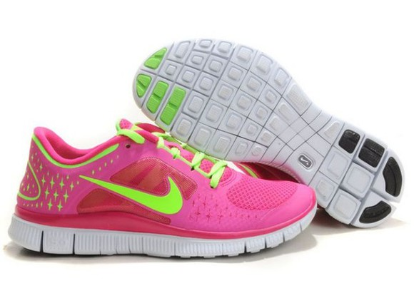 neon pink shoes yellow nike nike run nike free run sport
