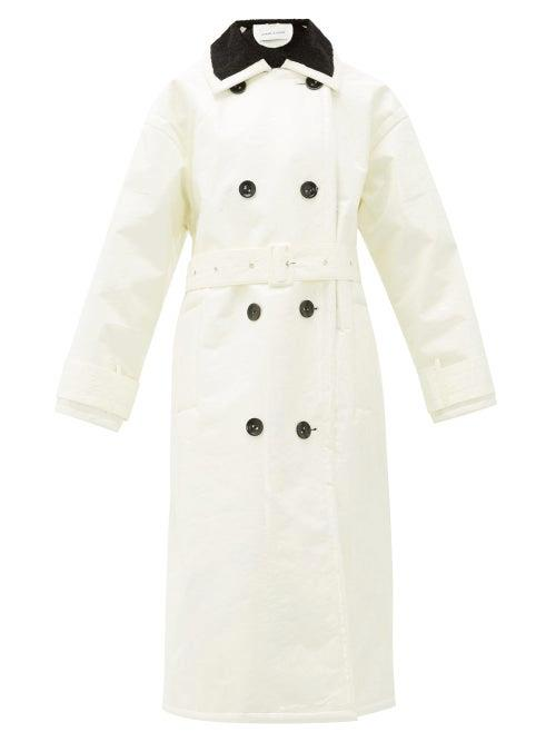 Stand Studio - Marissa Coated Canvas Faux Fur Lined Trench Coat - Womens - White