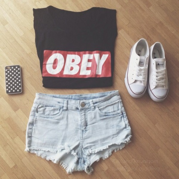 shirt obey black red cute blouse