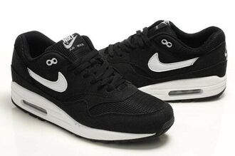 shoes nike air max 1 black and white trainers hat nike cap black