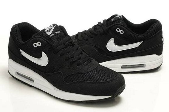 shoes trainers black & white air max 1