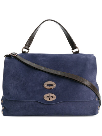 studded women leather blue bag