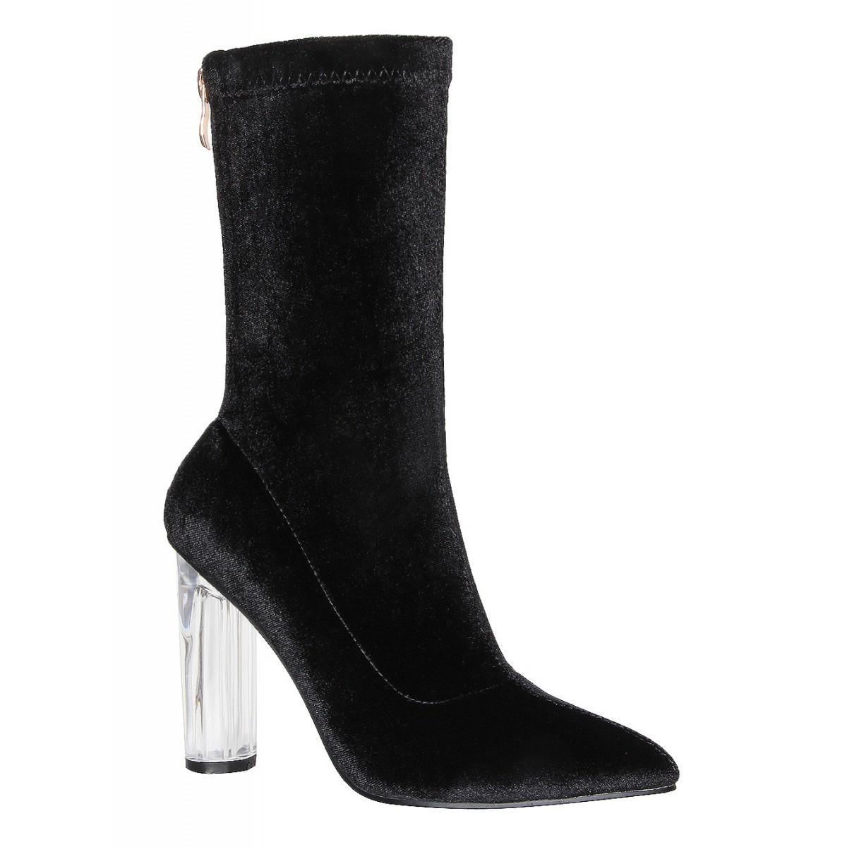 8a58878d50c Amina Black Velvet Perspex Heel Ankle Boots : Simmi Shoes