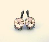 jewels,swarovski,swarovski earrings,swarovski crystal,crystal earrings,light peach,silk,light pink,subtle pink,shimmer,elegant,classy earrings,fashion accessory,round swarovski earrings,fancy earrings,gifts for her,gifts for mom,high fashion jewelry,trendy earrings,sabika inspired,12mm earrings,bling,bridesmaids gift jewelry,large stone earrings,siggy jewelry