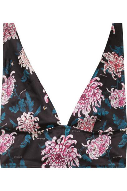 Fleur du Mal bra mesh soft black silk satin underwear