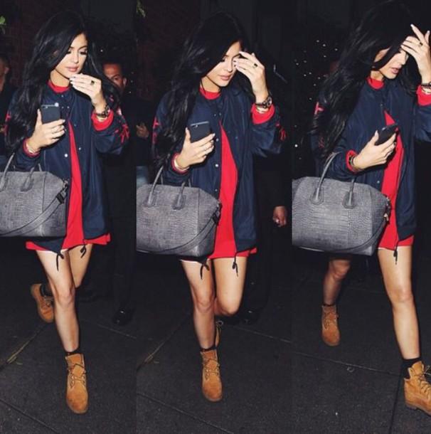 jacket kylie jenner bomber jacket red dress