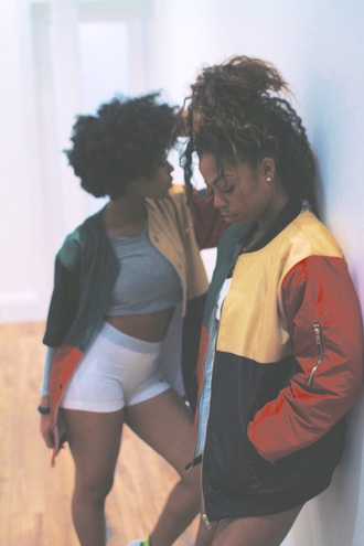jacket shorts shirt urban windbreaker black girls killin it natural hair curly hair african american yellow navy blue jacket earrings