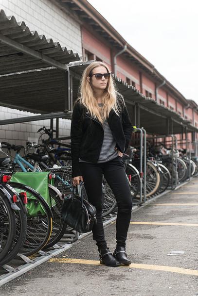 fashion gamble blogger jacket jeans bag sunglasses alexander wang