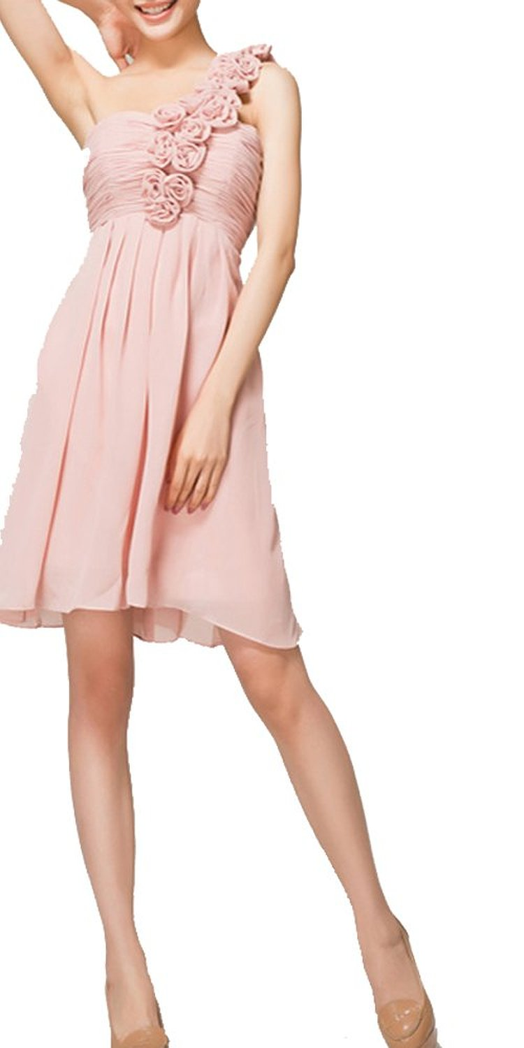 Amazon.com: Pastel Pink One Floral Shoulder Short Bridesmaid Dress Lace up Back: Clothing