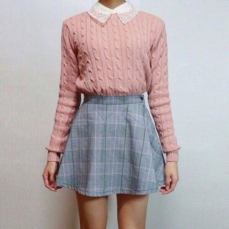 sweater cute sweater pink rose cute knitwear knitted sweater