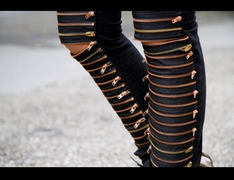 leather pants zip zipped pants