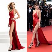 dress,jasz couture,prom dress,bella hadid,red dress,red carpet dress,bella hadid cannes,prom 2017,NewYorkDress.com
