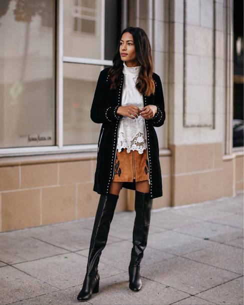 skirt tumblr mini skirt suede suede skirt coat black bag boots black boots over the knee boots over the knee blouse white blouse