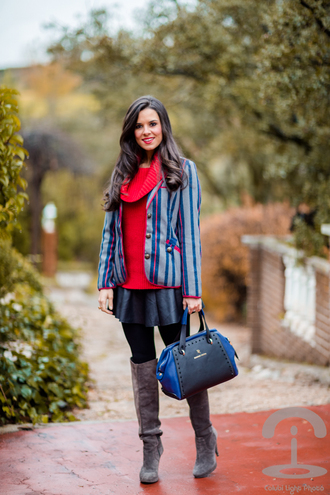 crimenes de la moda blogger bag red sweater blazer handbag boots leather skirt