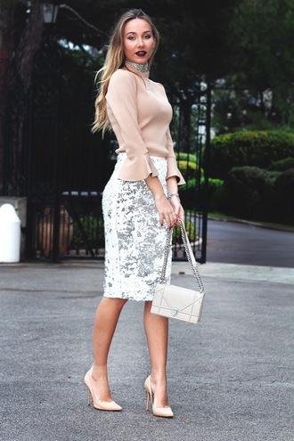 dream love shop blogger top skirt shoes bag nude top bell sleeves nude high heels high heel pumps shoulder bag pencil skirt