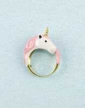 jewels,ring,unicorn,pink,blogger,boho,cute,floral,girly,grunge,hippie,hipster,instagram,kawaii,rainbow,summer,tumblr,vintage,pink unicorn,accessories,pink unicorn onesies,white,unicorn ring,pink ring,horse ring,yaass,lovely,licorne,bag,nail accessories,pink anda gold,gold,gold ring
