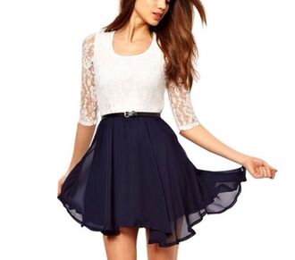dress elegant dress casual casual dress lace dress navy whit white dress white white lace dress belt colorful black and white dress shorts short dress style fashion flowy flowy dress three quarter three-quarter sleeves