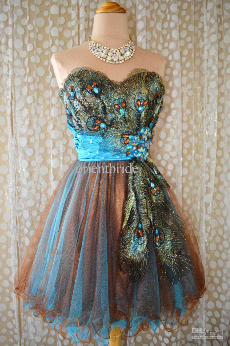 Buy 2013 classic vintage peacock patterns beaded short homecoming dresses cocktail dress party gowns, $110.58