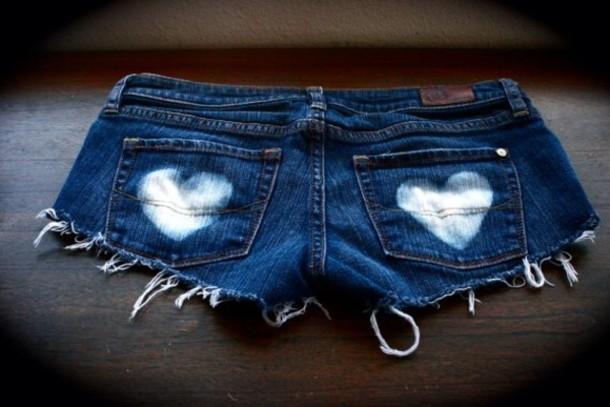 shorts heart jeans