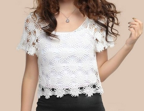 Outletpad   Flower Short Sleeve Cotton Lace Crochet Top Bikini Cover   Online Store Powered by Storenvy