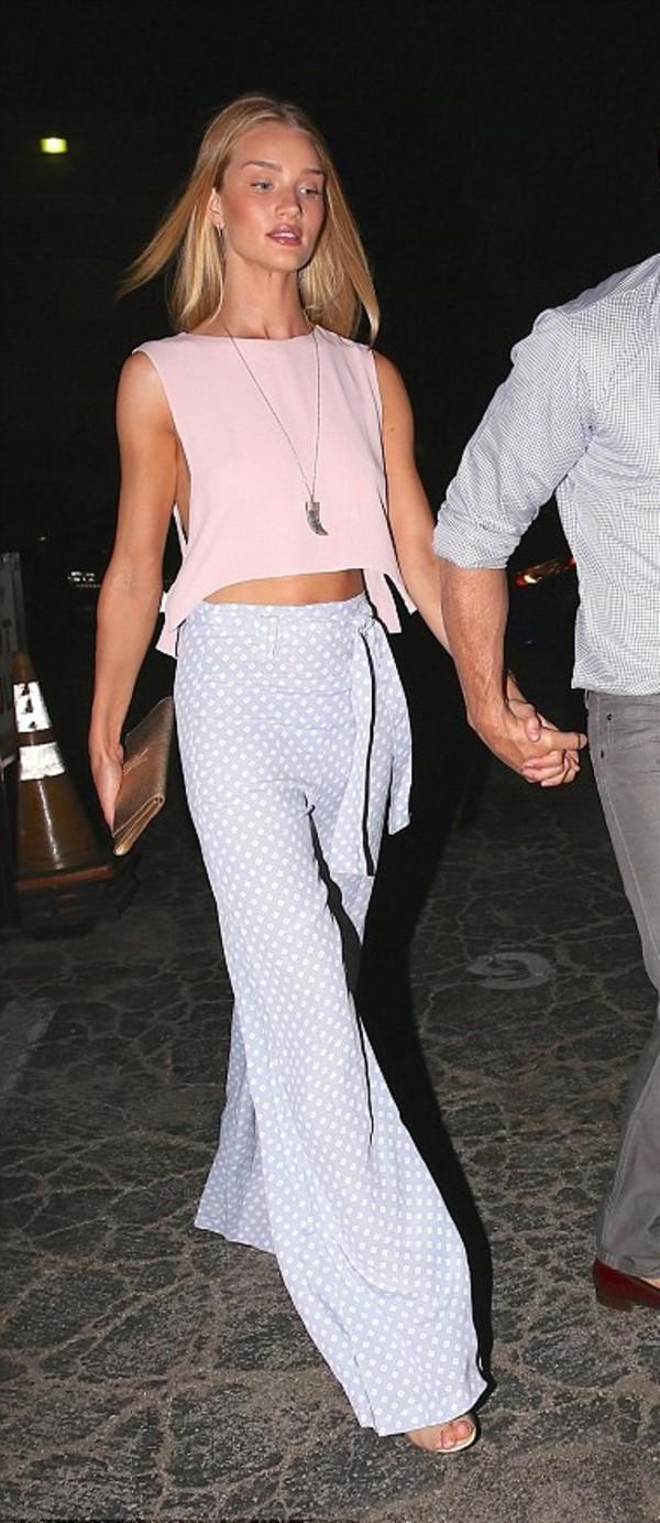 pants wide-leg pants rosie huntington-whiteley top