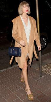 dress,coat,camel coat,taylor swift,sandals,platform sandals,spring outfits,purse,shoes,camel