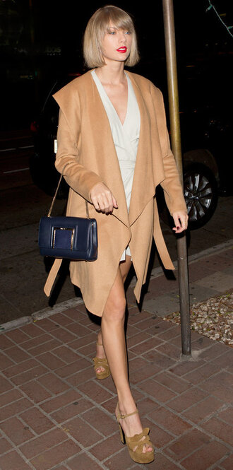dress coat camel coat taylor swift sandals platform sandals spring outfits purse shoes camel