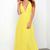 Yellow Plunge V Neck Cross Back Chiffon Maxi Dress