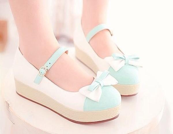 Shoes: white, light blue, bows, platform shoes, mint ...