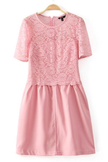 Pure Color Lace Up Dress in Pink [DLN0401] - PersunMall.com