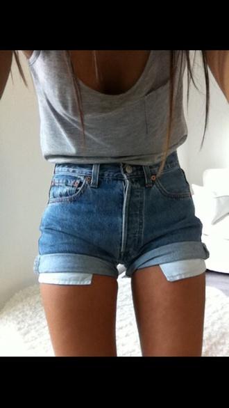 denim blue shorts jeans shorts high waisted shorts tumblr girl