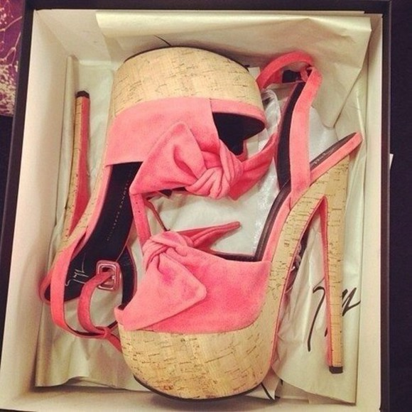 shoes wedge pink bows couture
