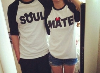 t-shirt couple t-shirts minnie and mickey perú black and white skirt shirt disney baseball tee soul mate mickey and minnie tee couple sweaters soul mate top couples shirts matching couples white matching shirts