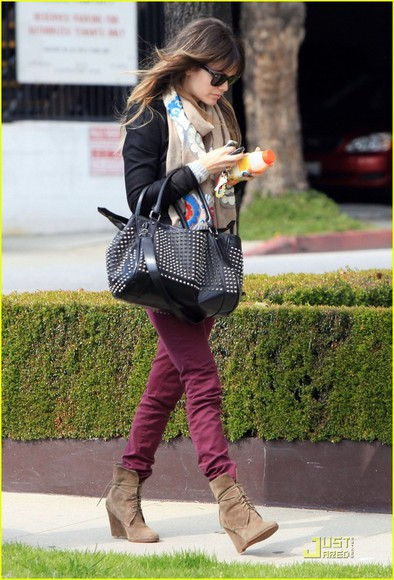 rachel bilson black bag black jacket shoes scarf jeans bag