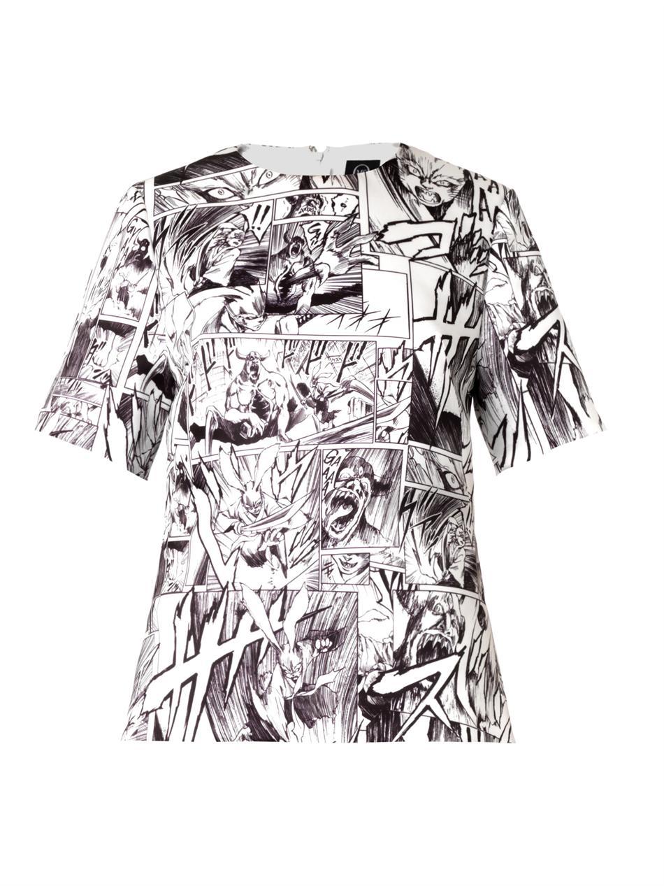 Manga-print duchess-satin top | McQ Alexander McQueen | MATCHE...