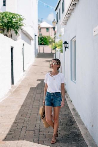 t-shirt shorts hat sunglasses tumblr ripped white t-shirt denim denim shorts sandals flat sandals bag sun hat shoes
