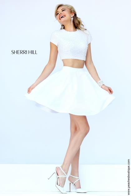 Sherri Hill Short Beaded Bodice Dress 32249