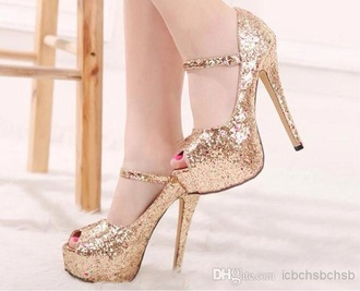 shoes glitzer heels gold heels