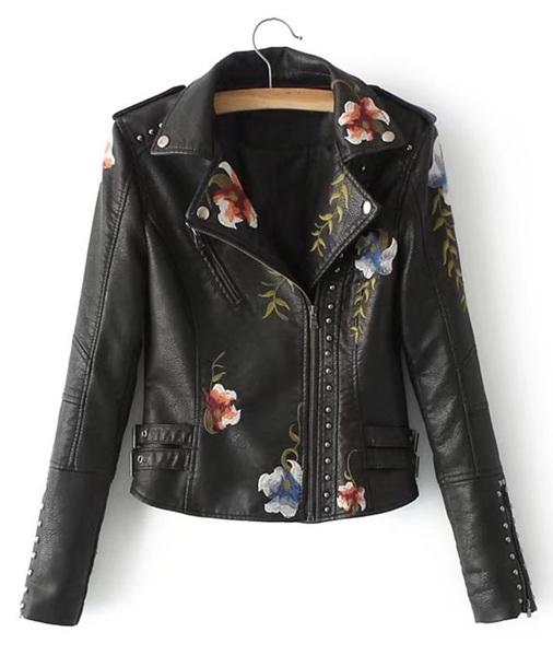 jacket embroidered girly black leather leather jacket biker jacket