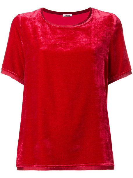 P.A.R.O.S.H. t-shirt shirt t-shirt women silk velvet red top