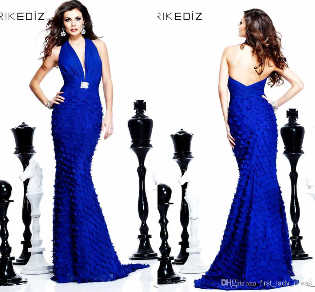 Discount New Arrival Halter Sheath Blue Prom Dresses Feather Flowers Floor Length Gorgeous Sexy Backless Formal Evening Dress 2014 Prom Party Gown Online with $148.46/Piece | DHgate