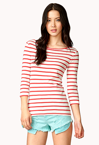 Boat Neck Striped Top | FOREVER21 - 2023763241