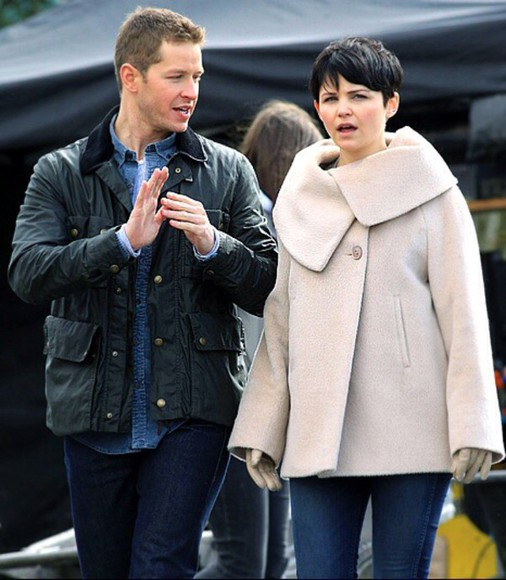 once upon a time ginnifer goodwin mary margaret blanchard white coat winter coat winter outfits fall outfits fall coat