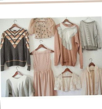 retro vintage dress sweater pink beige green pastel