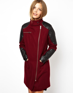 ASOS | ASOS Biker Coat With Motorcycle Sleeve at ASOS